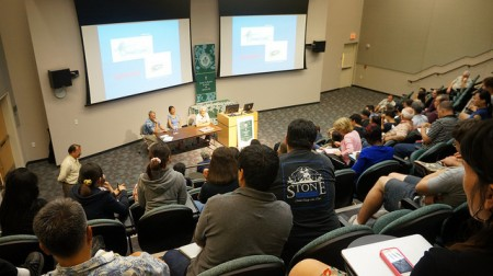The auditorium was filled with people interested in the Ebola crisis response.