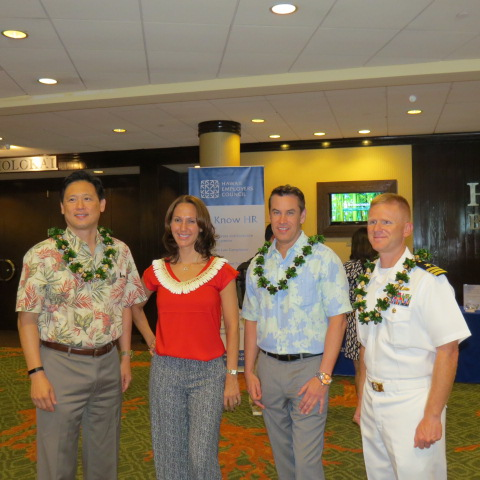 Howard Lee, UHA, Mercedes Lanza, UCERA HR Director, Harry Byerly, Hawai'i Human Resources and Timothy Wilke, Afloat Training Group.